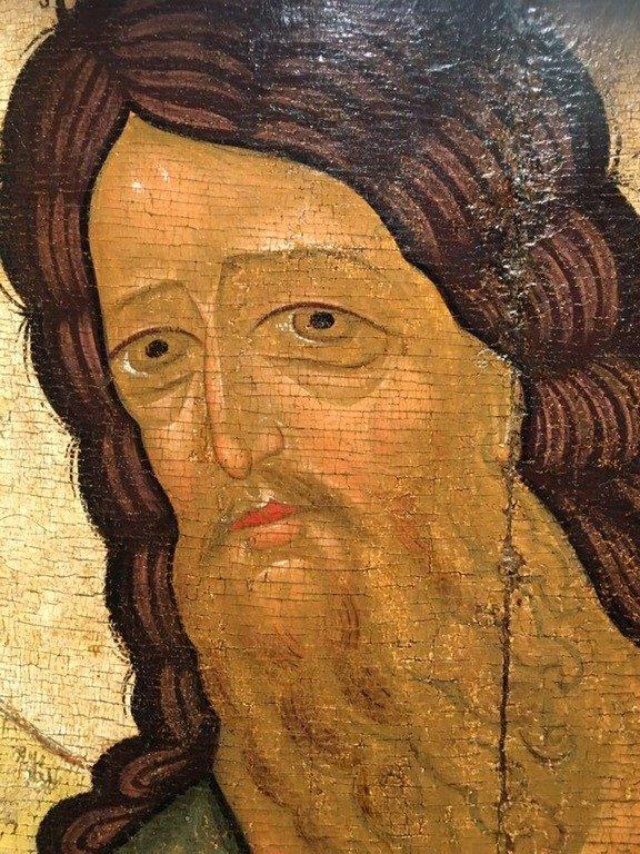 Святой Иоанн Предтеча. Икона. Тверь, первая половина XV века. Фрагмент.