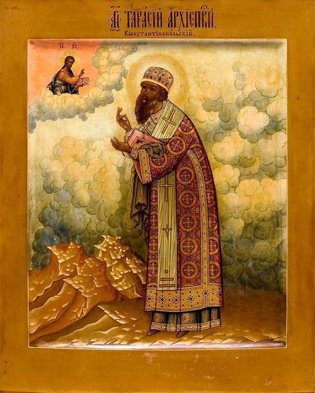 Святитель Тарасий, Архиепископ Константинопольский. Икона. Мстёра, конец XIX века.