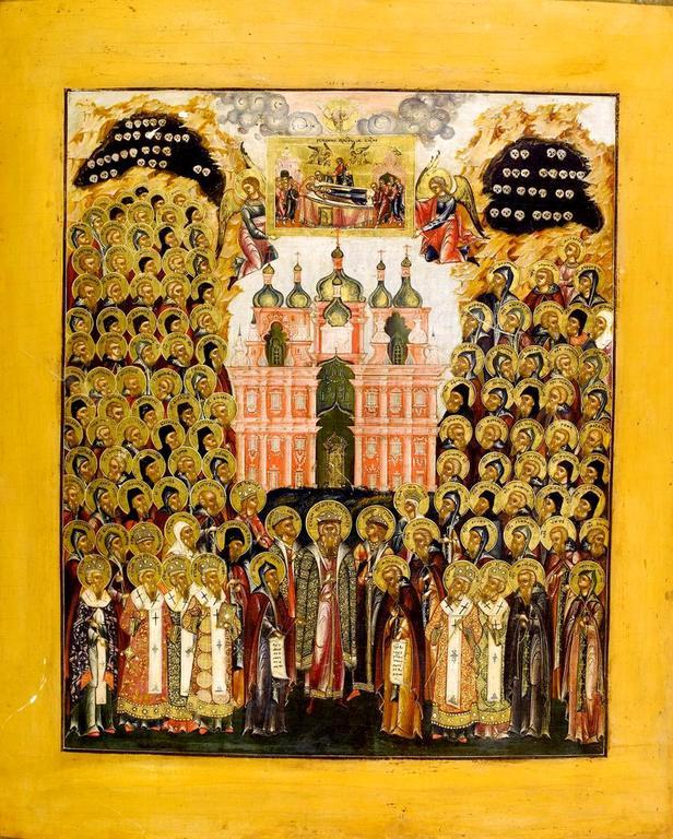 Собор всех Преподобных отцов Киево-Печерских. Икона. Россия, около 1800 года.