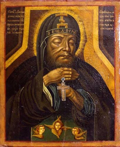 Икона с изображением святых мощей Преподобного Феодосия Тотемского. Россия, начало XIX века.
