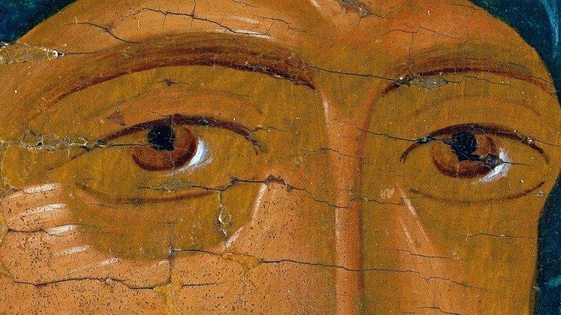 Богоматерь Одигитрия. Икона. Ростов Великий, конец XV века. Фрагмент.