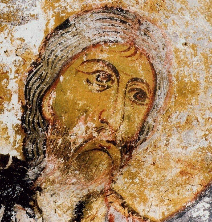 Лик Спасителя. Фрагмент фрески. Сванетия.