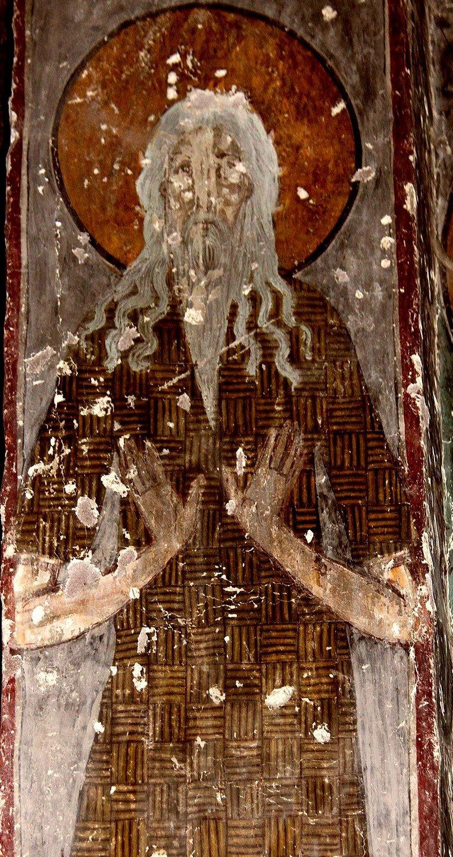 Святой Преподобный Павел Фивейский. Фреска церкви Святого Георгия в Чуле, Грузия. 1381 год. Иконописец Арсен.