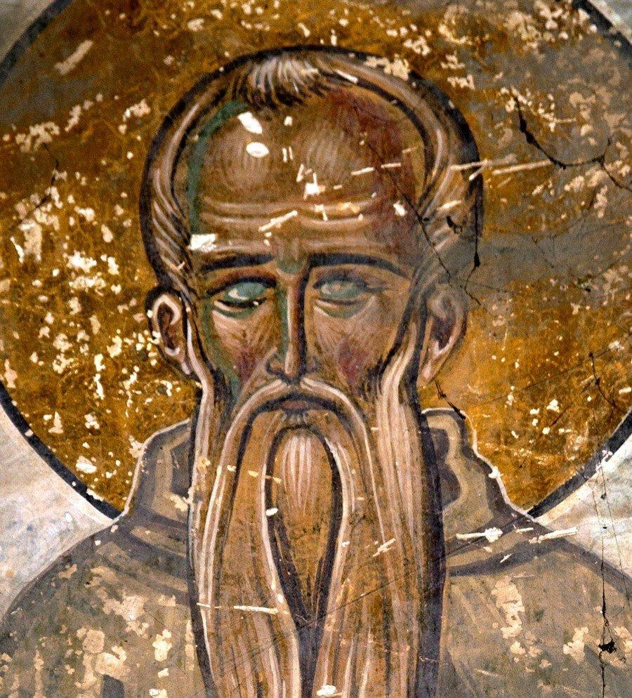 Святой Преподобный Евфимий Великий. Фреска собора Христа Спасителя в Цаленджихе, Грузия. 1384 - 1396 годы. Иконописец Мануил Евгеник.