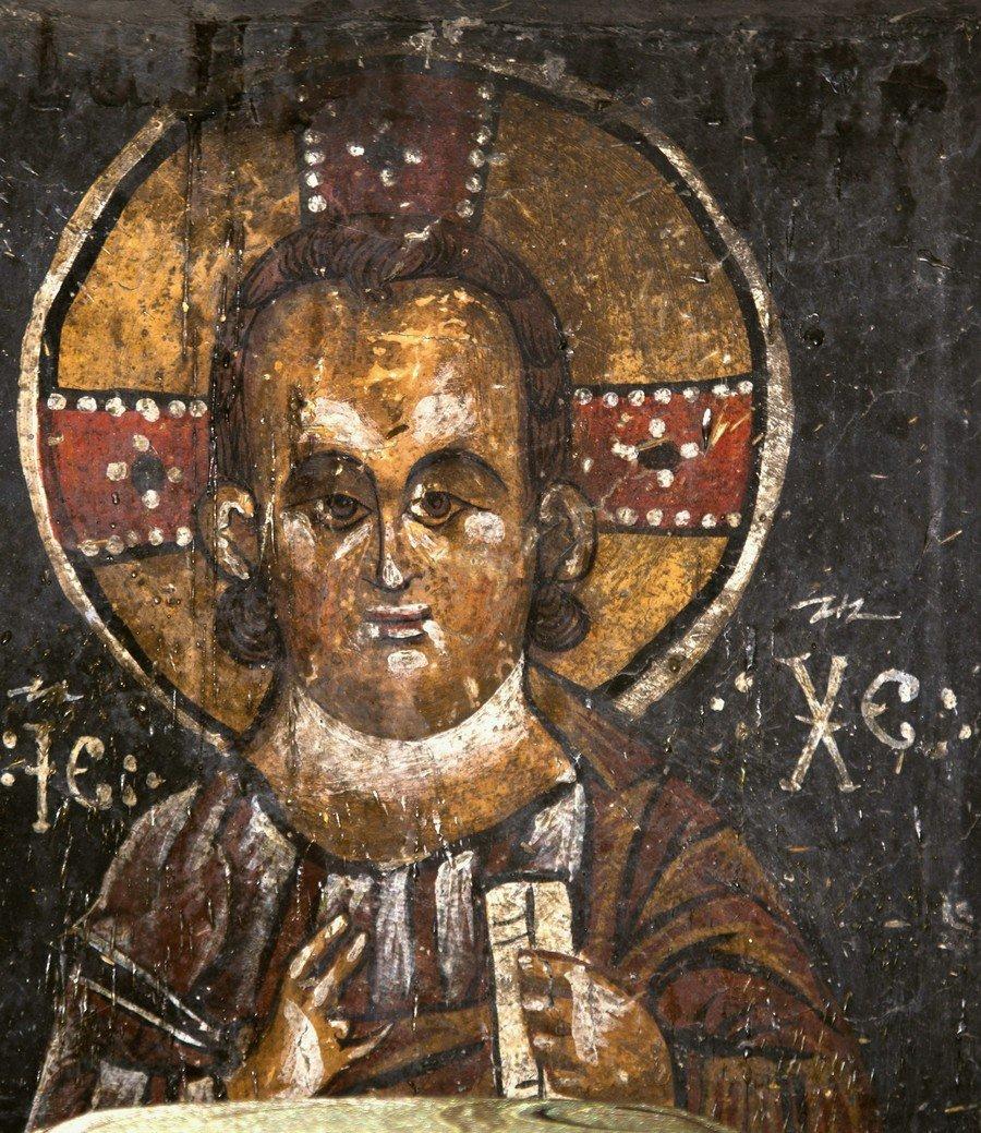 Христос Эммануил. Фреска церкви Преображения Господня в Лагами, Сванетия, Грузия. XIV век.