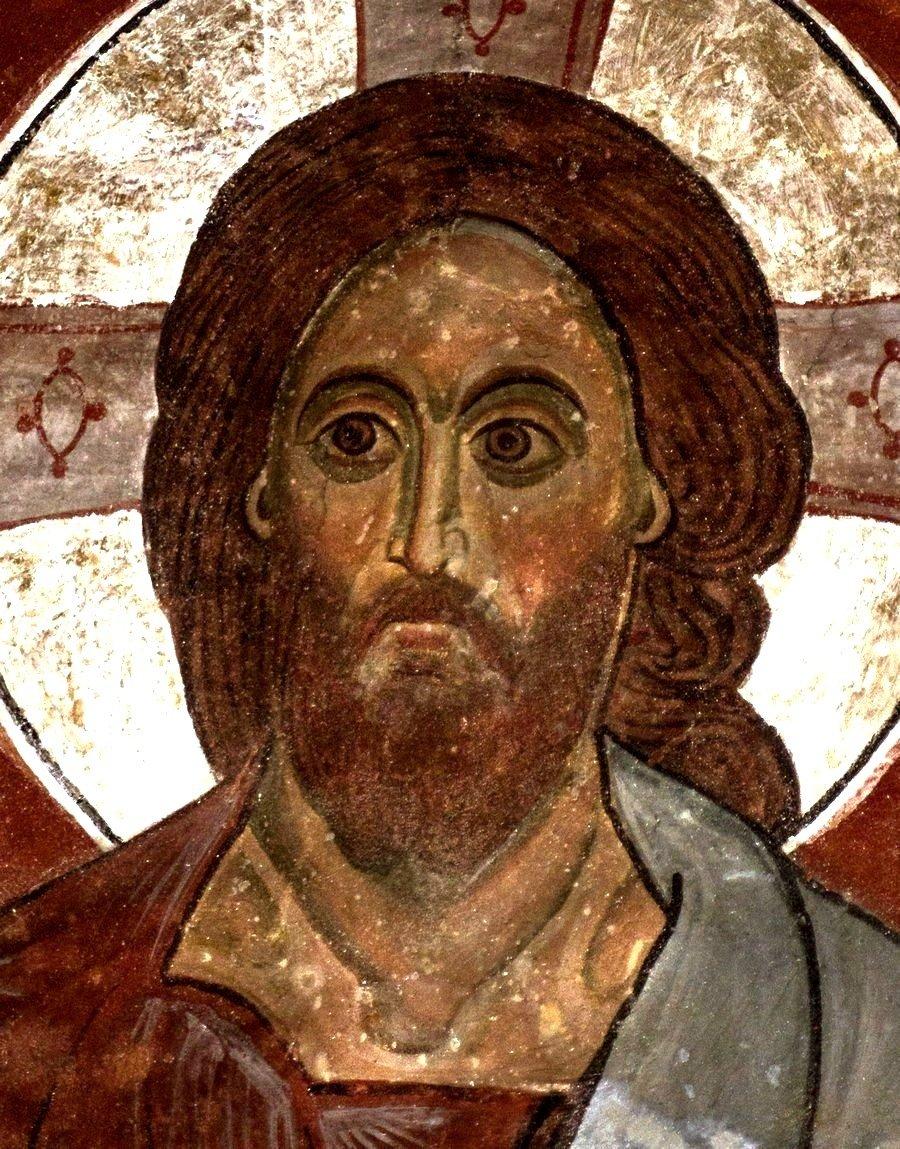 "Лик Спасителя. Фрагмент фрески ""Вознесение Господне"" в куполе храма Святого Саввы монастыря Сапара, Грузия. Начало XIV века."