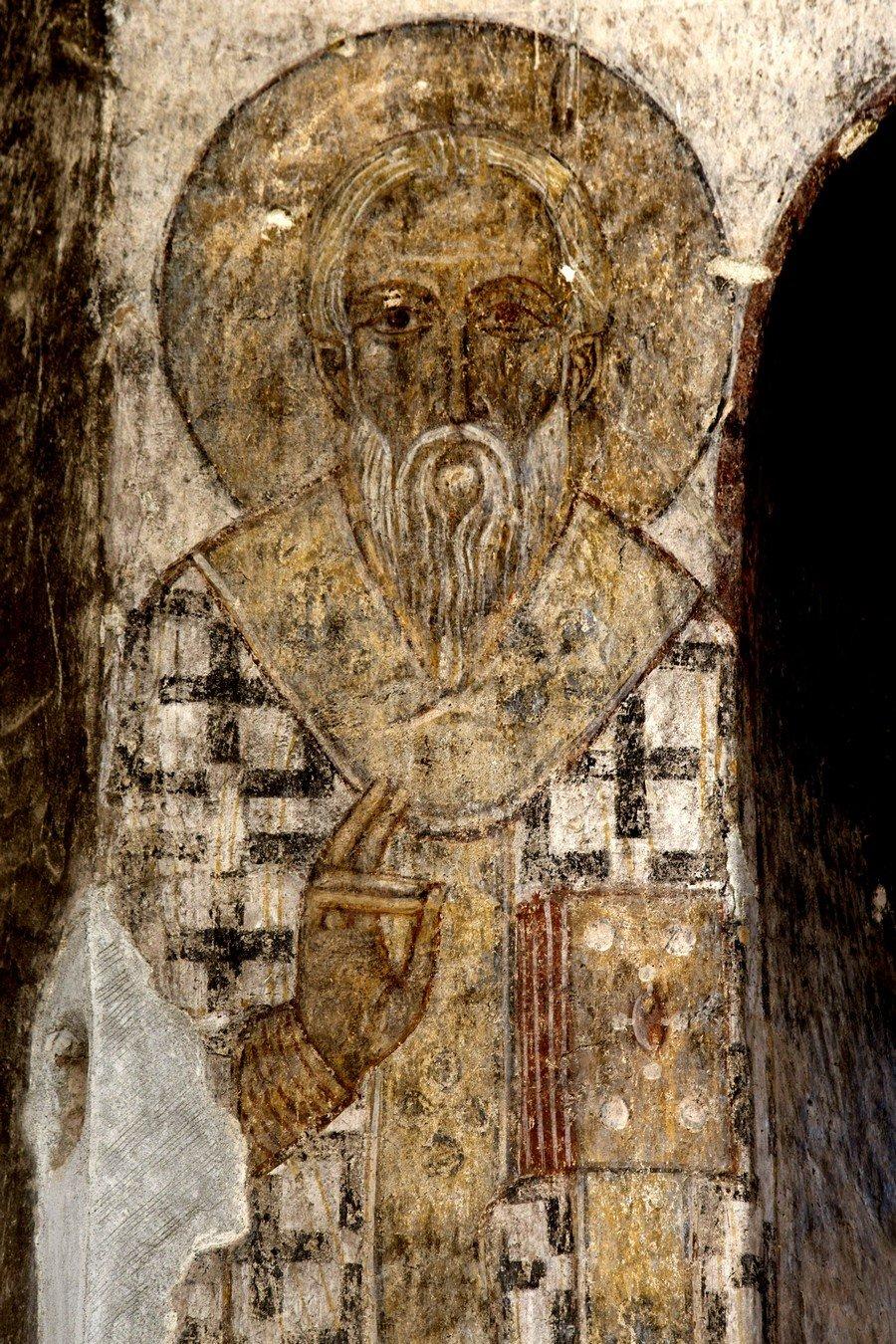Святитель Григорий Богослов. Фреска монастыря Кобайр, Армения. Выполнена грузинскими мастерами в XIII веке, когда монастырь был православным.