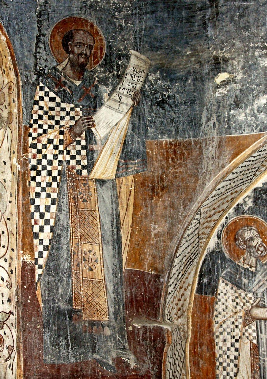 Святитель Иоанн Златоуст. Фреска собора Рождества Пресвятой Богородицы в монастыре Гелати, Грузия.