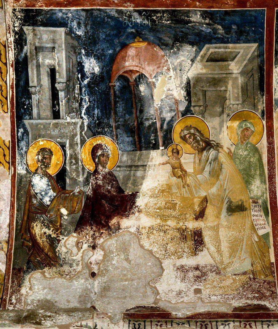 Сретение Господне. Фреска церкви Святого Георгия в монастыре Гелати, Грузия. 1561 - 1578 годы.