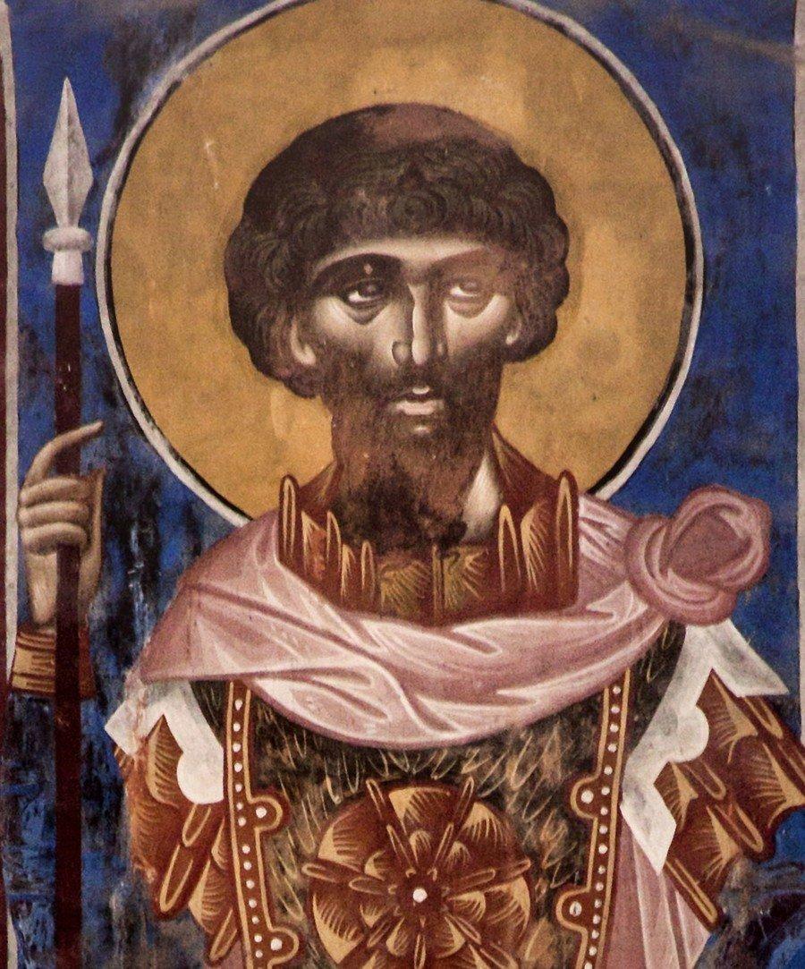 Святой Великомученик Феодор Стратилат. Фреска собора Рождества Пресвятой Богородицы в монастыре Гелати, Грузия.