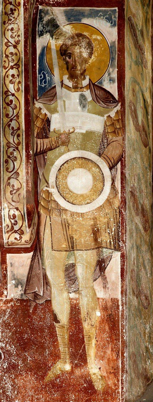 Святой Великомученик Феодор Тирон. Фреска церкви Святого Георгия в монастыре Гелати, Грузия. 1561 - 1578 годы.