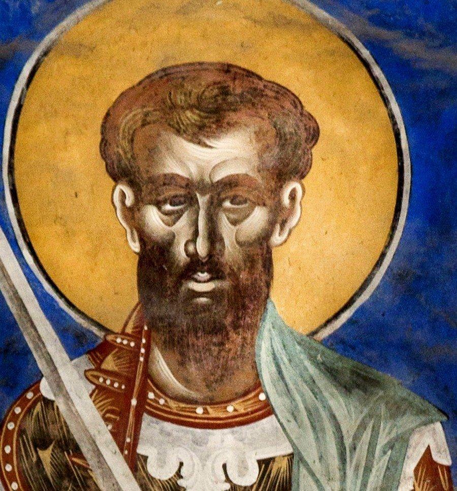 Святой Великомученик Феодор Тирон. Фреска собора Рождества Пресвятой Богородицы в монастыре Гелати, Грузия.