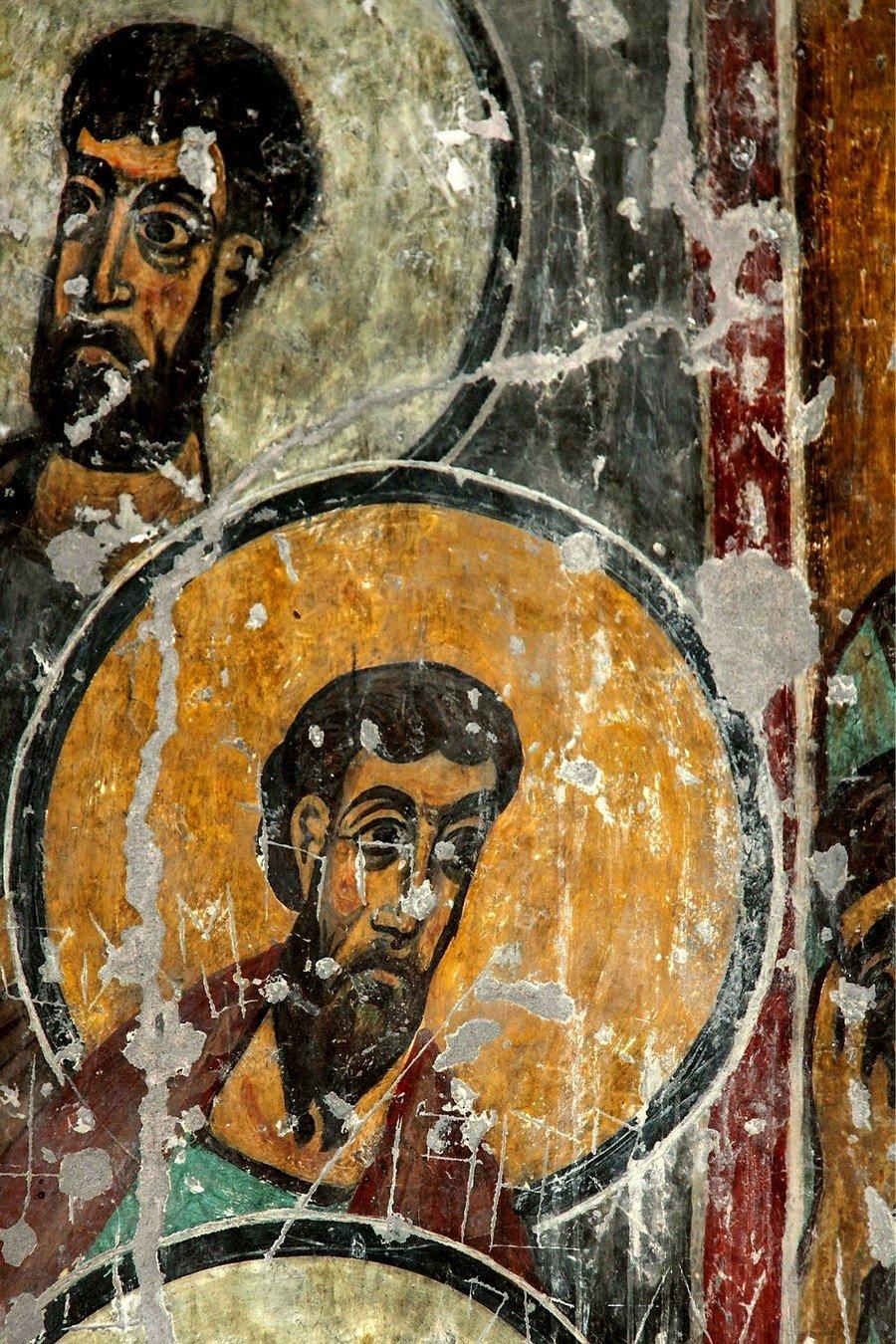 Фрески монастыря Святого Георгия в Чуле (монастыря Чулеви), Грузия. 1381 год. Иконописец Арсен. Сошествие Святого Духа на Апостолов.