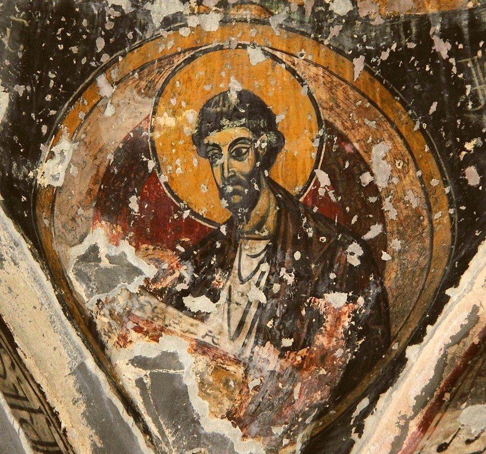 Фрески монастыря Святого Георгия в Чуле (монастыря Чулеви), Грузия. 1381 год. Иконописец Арсен. Святой Апостол и Евангелист Лука.