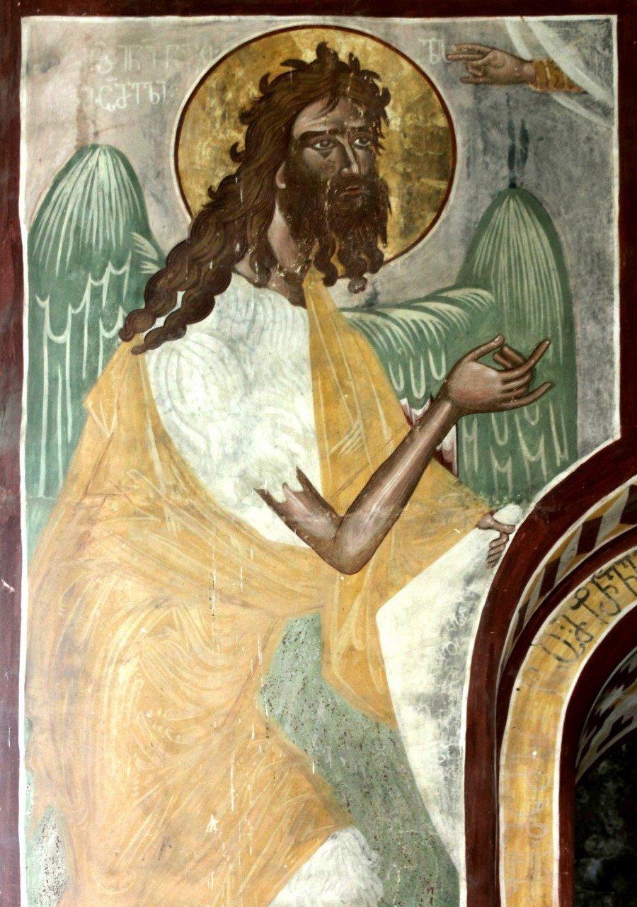 Святой Иоанн Предтеча Ангел пустыни. Фреска собора Рождества Пресвятой Богородицы в монастыре Гелати, Грузия. Святой Иоанн Предтеча изображён с ангельскими крыльями как великий подвижник и пустынножитель, своим житием уподобившийся Ангелам.