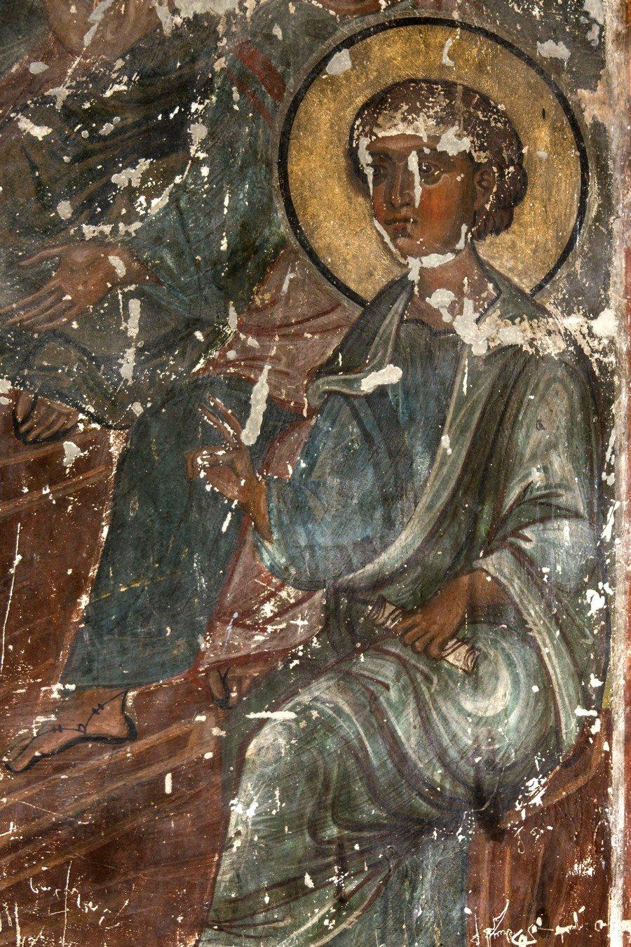 "Святой Апостол. Фрагмент фрески ""Сошествие Святого Духа на Апостолов"". Храм Святого Саввы монастыря Сапара, Грузия. Начало XIV века."