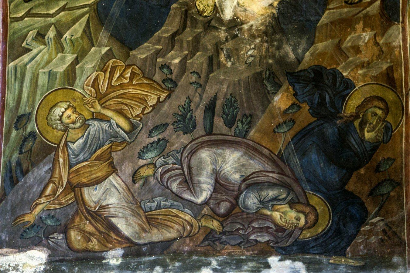 Преображение Господне. Фреска храма Святого Саввы монастыря Сапара, Грузия. Начало XIV века. Фрагмент.