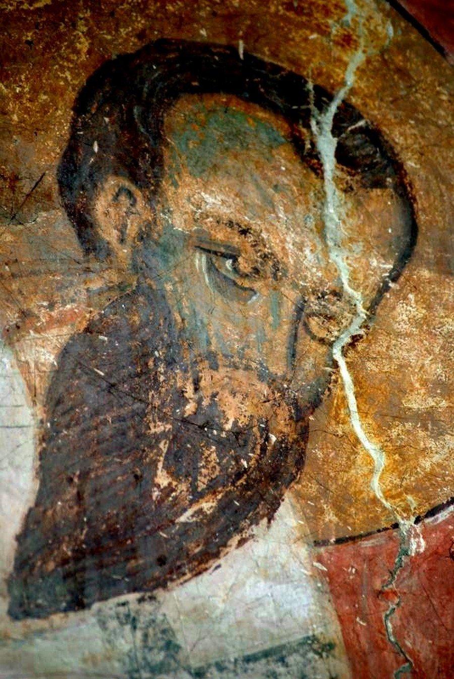Святитель Василий Великий (?). Фреска церкви Распятия Господня в Сори, Грузия. Начало XIV века.