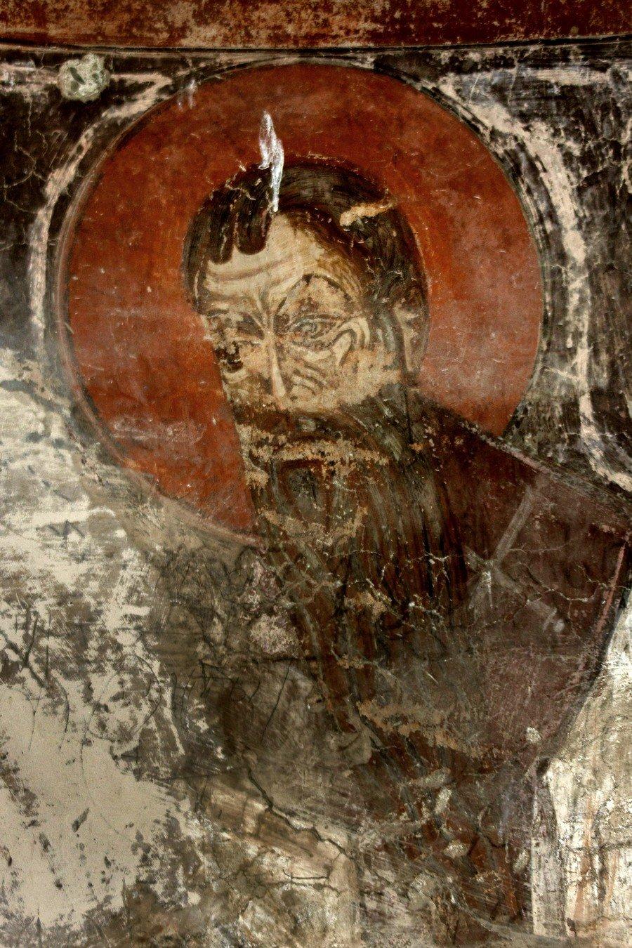 Святитель Василий Великий (?). Фреска монастыря Шиомгвиме (Шио-Мгвимского монастыря), Грузия.