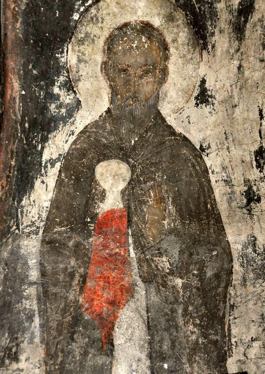 Святой Преподобный Зосима Палестинский. Фреска пещерного монастыря Вардзиа (Вардзия), Грузия. До 1185 года.