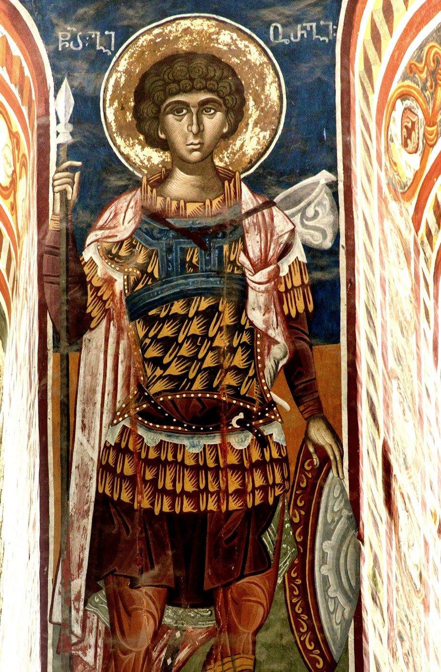 Святой Великомученик Георгий Победоносец. Фреска собора Рождества Пресвятой Богородицы в монастыре Гелати, Грузия.