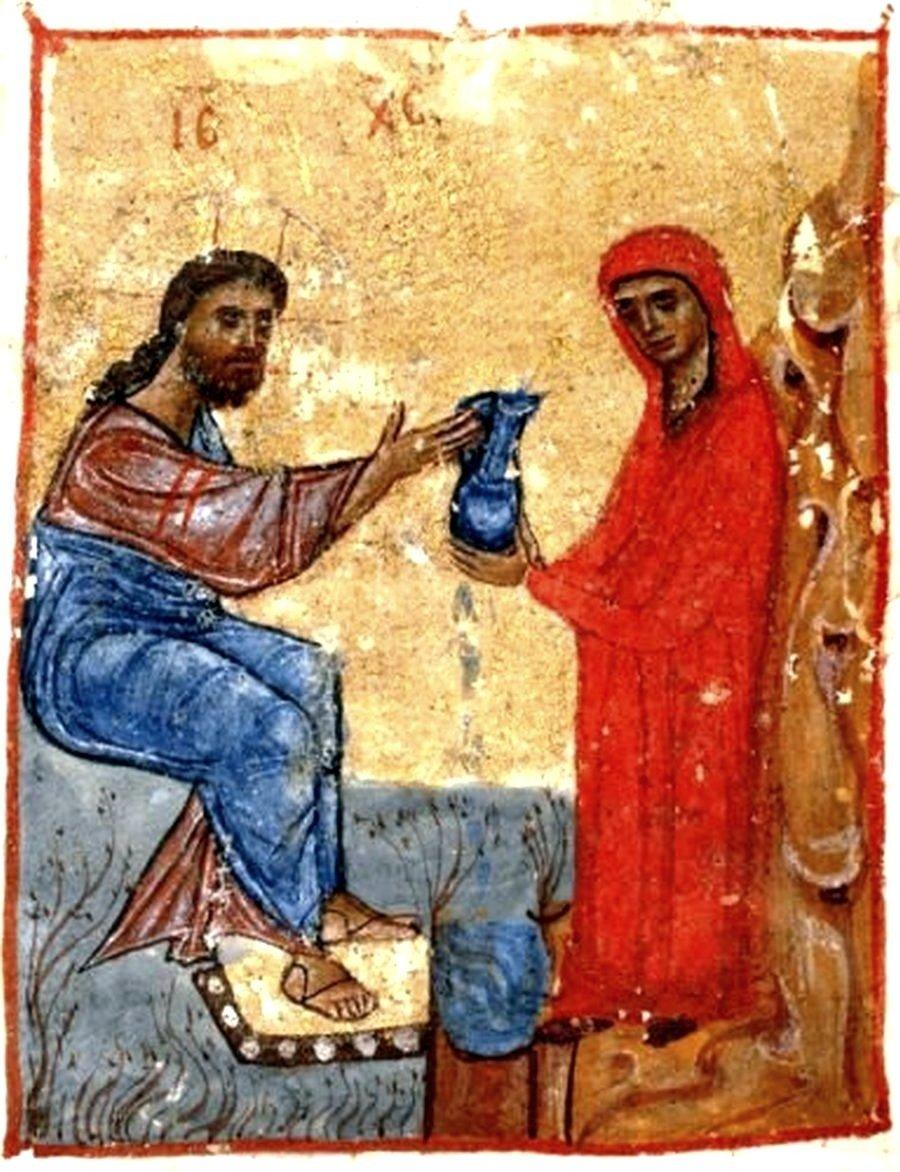 Беседа Христа с самарянкой. Миниатюра Евангелия. Грузия, XII век.