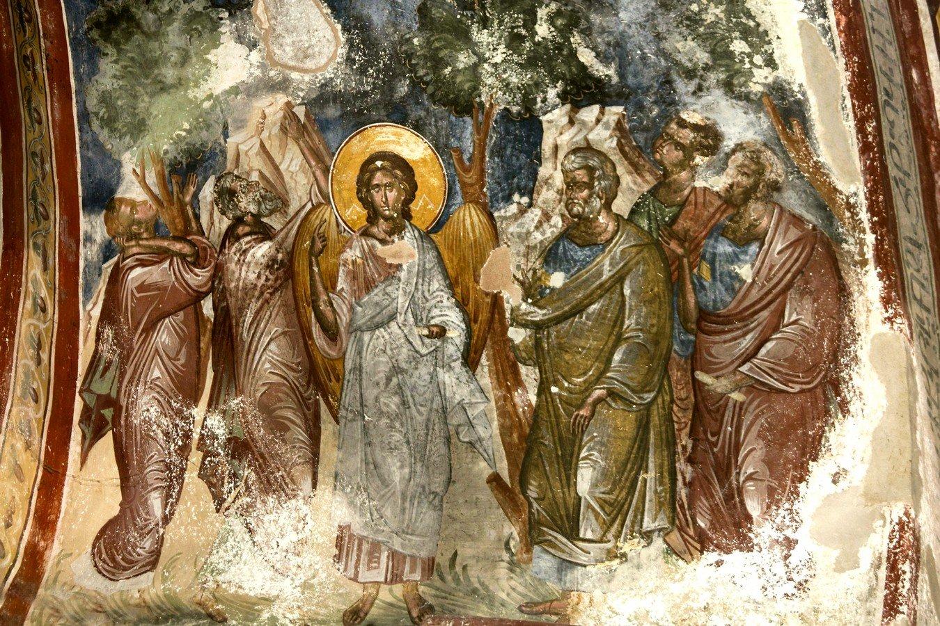 Вознесение Господне. Фреска церкви Святого Георгия в монастыре Гелати, Грузия. 1561 - 1578 годы. Фрагмент.