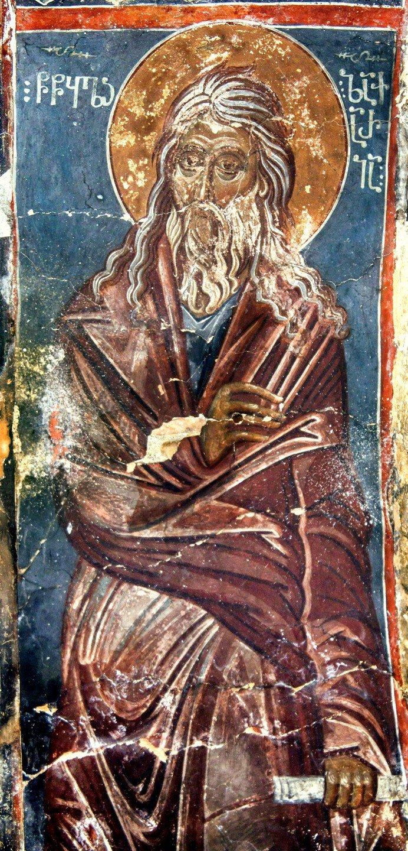 Святой Пророк Захария. Фреска монастыря Тири, Южная Осетия. XIV - XV век.