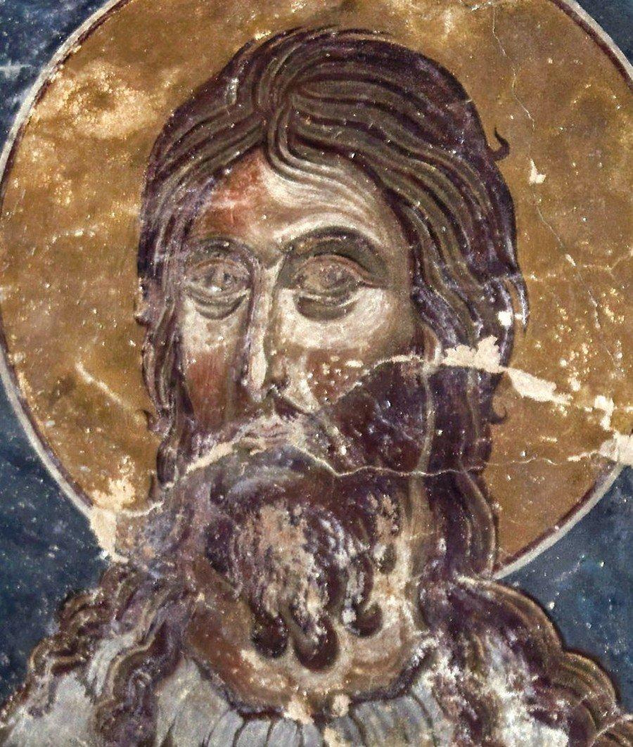 Святой Пророк, Предтеча и Креститель Господень Иоанн. Фреска монастыря Тири, Южная Осетия. XIV - XV век.
