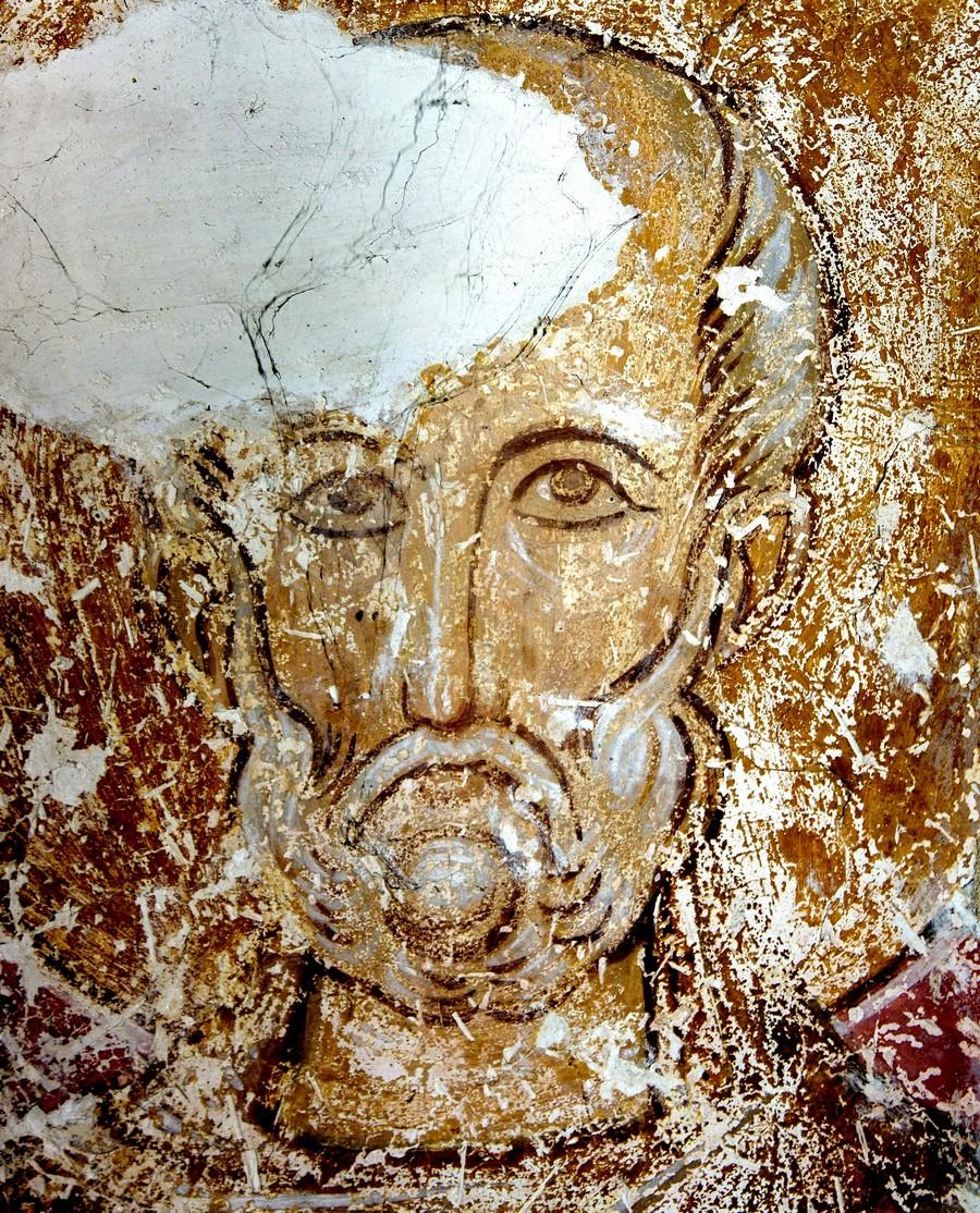 Святой Преподобный Сампсон Странноприимец. Фреска церкви Распятия Господня в Сори, Грузия. Начало XIV века.