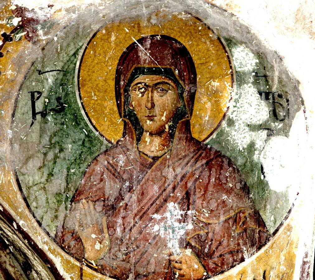 Святая Мученица Иулитта Тарсийская. Фреска собора Рождества Пресвятой Богородицы в монастыре Гелати, Грузия.