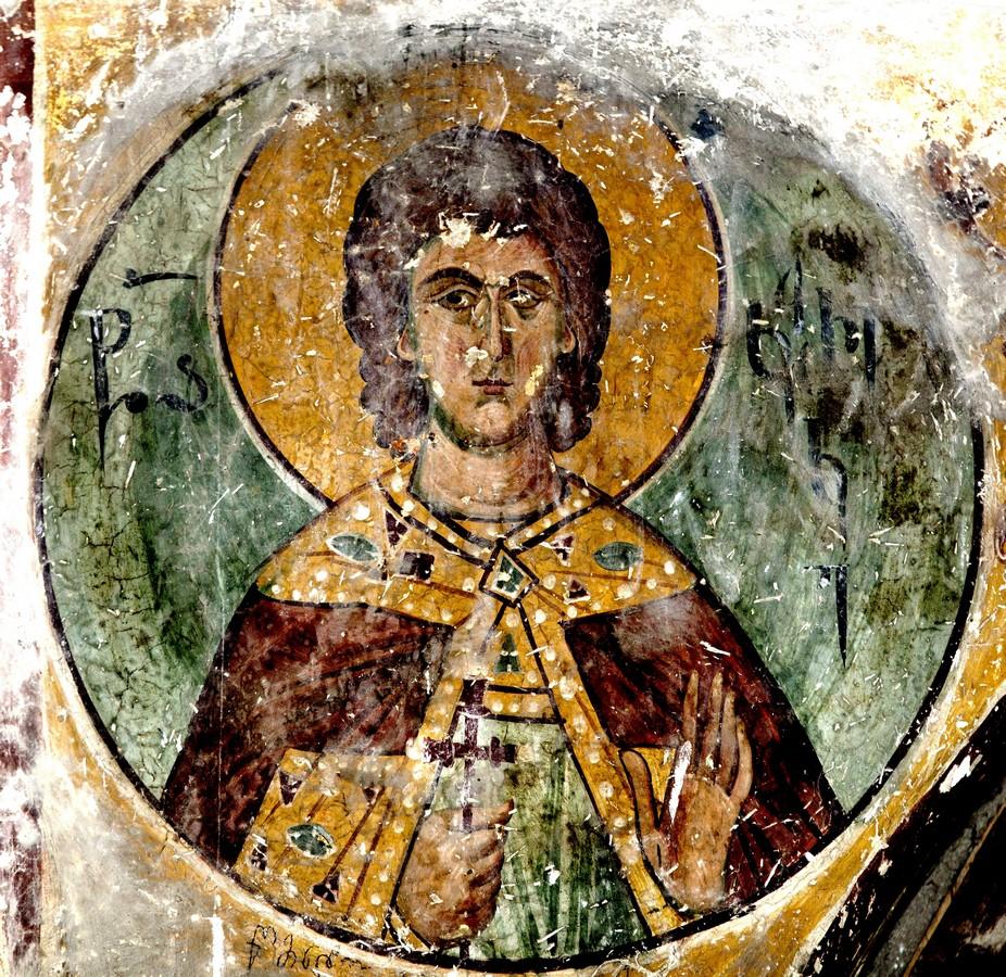 Святой Мученик Кирик Тарсийский. Фреска собора Рождества Пресвятой Богородицы в монастыре Гелати, Грузия.