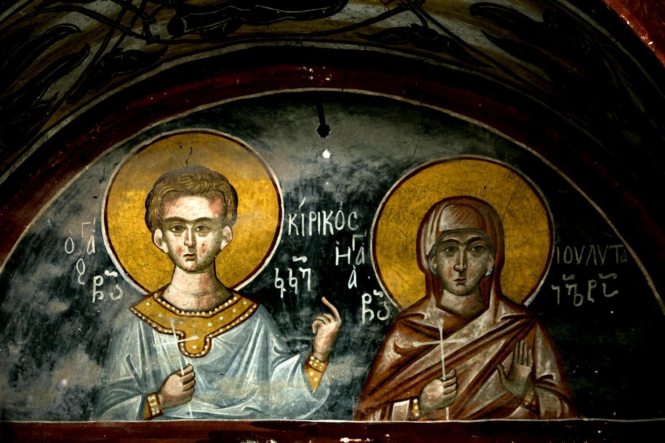 Святые Мученики Кирик и Иулитта. Фреска собора Рождества Пресвятой Богородицы в монастыре Гелати, Грузия.