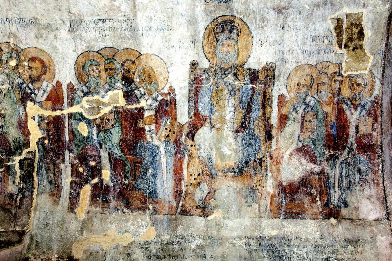 Четвёртый Вселенский Собор. Фреска притвора собора Рождества Пресвятой Богородицы в монастыре Гелати, Грузия. 1125 - 1130 годы.