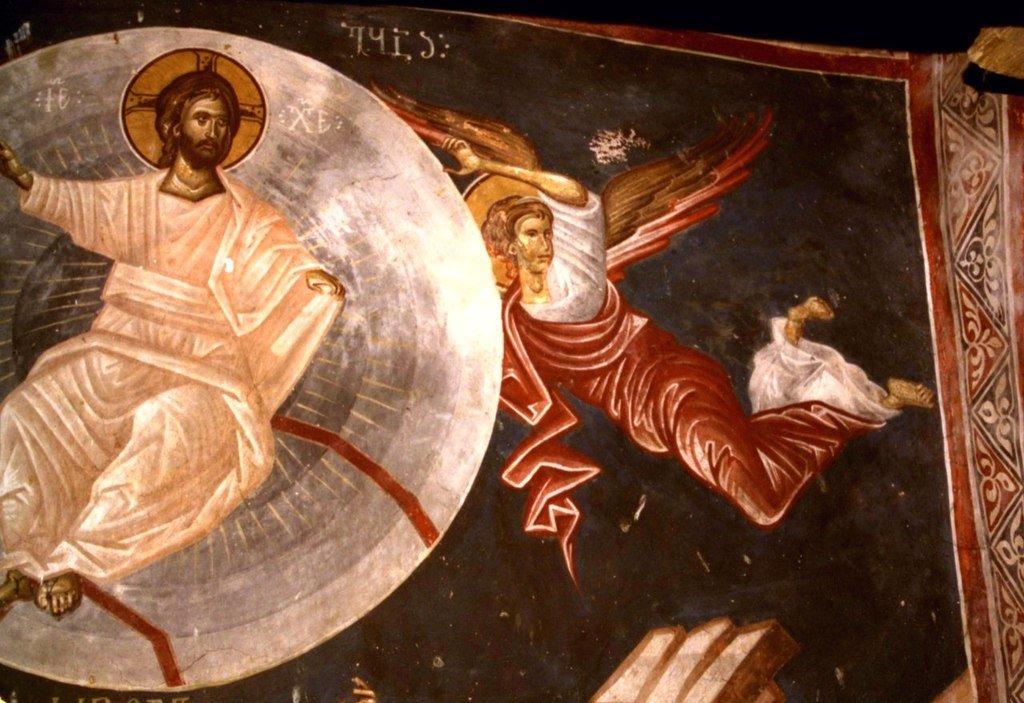 Вознесение Господне. Фреска церкви Святого Георгия в монастыре Убиси, Грузия. XIV век. Иконописец Герасиме. Фрагмент.