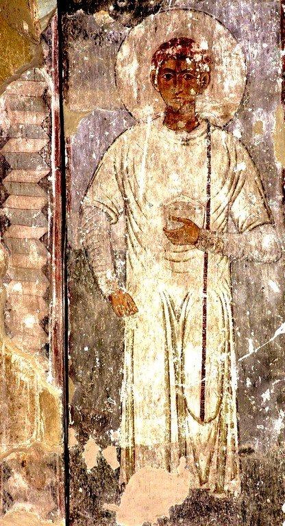 Святой Мученик Лаврентий, Архидиакон Римский. Фреска храма Атени Сиони, Грузия. XI век.