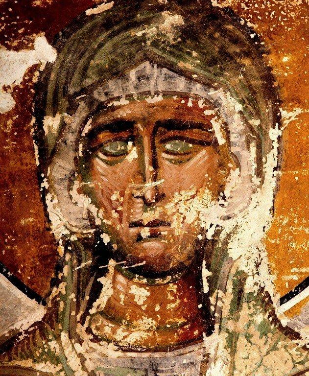 Святая Праведная Елисавета, мать Святого Иоанна Предтечи. Фреска собора Христа Спасителя в Цаленджихе, Грузия. XIV век. Иконописец Мануил Евгеник.
