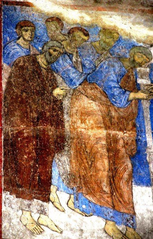 Евхаристия (Причащение Апостолов). Фреска церкви Святого Николая в монастыре Кинцвиси, Грузия. Около 1207 года. Фрагмент.