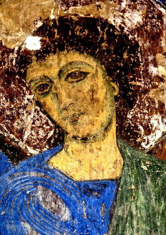 """""""Кинцвисский Ангел"""". Фреска церкви Святого Николая в монастыре Кинцвиси, Грузия. Около 1207 года. Лик."""