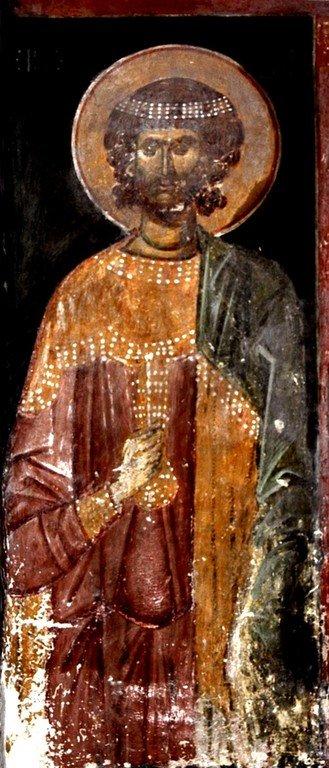 Святой Мученик. Фреска церкви Святого Георгия в монастыре Убиси, Грузия. Середина - вторая половина XIV века.