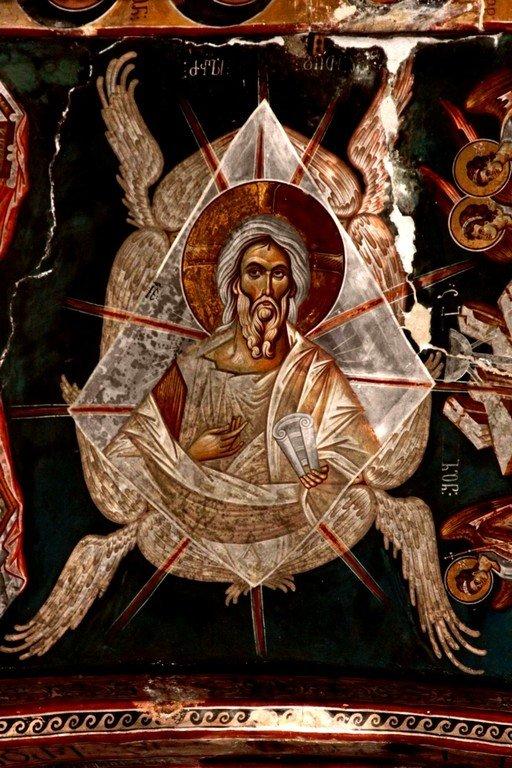 Христос Ветхий денми. Фреска церкви Святого Георгия в монастыре Убиси, Грузия. Середина - вторая половина XIV века.