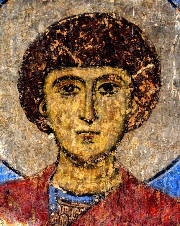Святой Великомученик Георгий Победоносец. Фреска церкви Святого Николая в монастыре Кинцвиси, Грузия. Около 1207 года.