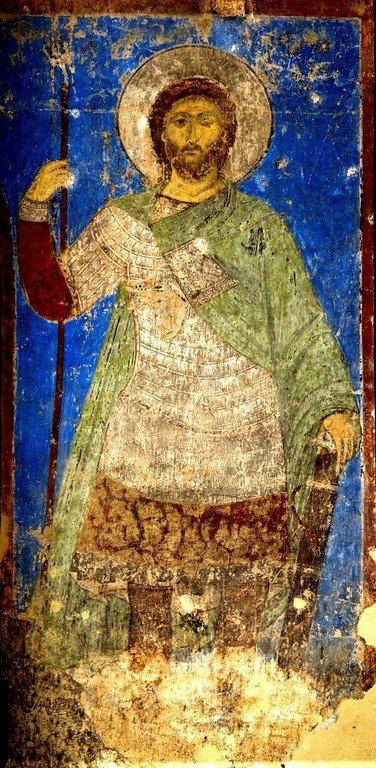 Святой Великомученик Артемий Антиохийский. Фреска церкви Святого Николая в монастыре Кинцвиси, Грузия. Около 1207 года.