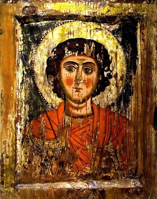 Святой Великомученик Георгий Победоносец. Икона в музее истории и этнографии Сванетии в Местии, Грузия.