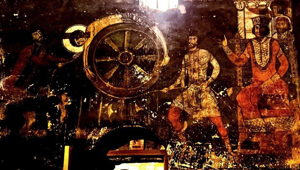 Колесование Святого Великомученика Георгия. Фреска церкви Святого Георгия в Накипари, Сванетия, Грузия. 1130 год. Иконописец Тевдоре.