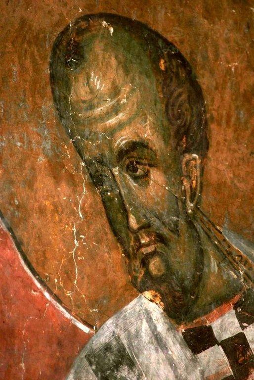Святитель Иоанн Златоуст, Архиепископ Константинопольский. Фреска церкви в Сори, Грузия. Конец XIV века.