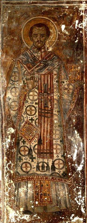 Святитель Иоанн Златоуст, Архиепископ Константинопольский. Фреска Хобского монастыря, Грузия.