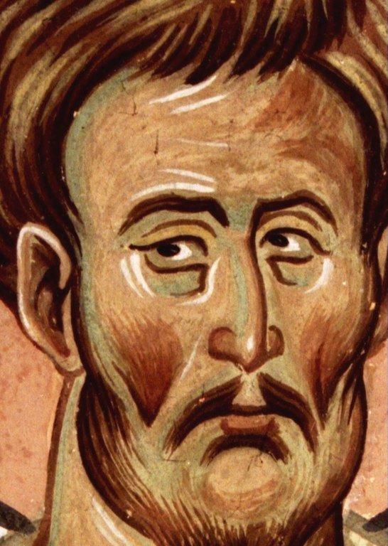 Святой Пророк Моисей Боговидец. Фреска церкви Святого Георгия в монастыре Убиси, Грузия. Середина - вторая половина XIV века.