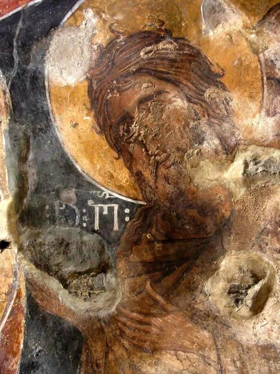 Святой Иоанн Предтеча. Фреска Нузальской часовни, Северная Осетия. XIV век. Осетинский (?) мастер, обучавшийся в Грузии.