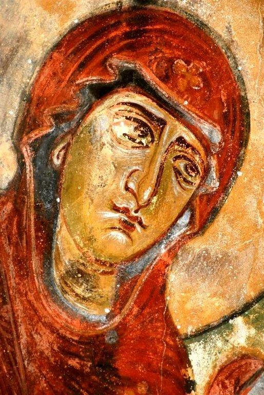 Лик Пресвятой Богородицы. Фреска церкви Святых Архангелов в Ипрари, Сванетия, Грузия.1096 год. Иконописец Тевдоре.
